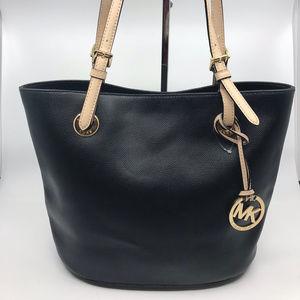 Michael Kors Black Cream Leather Shoulder Bag